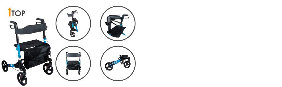 Mobiclinic, Modelo Trajano, Andador para adultos, ancianos, minusvalidos o mayores, de aluminio, ligero, plegable, con asiento y 4 ruedas. Color ...