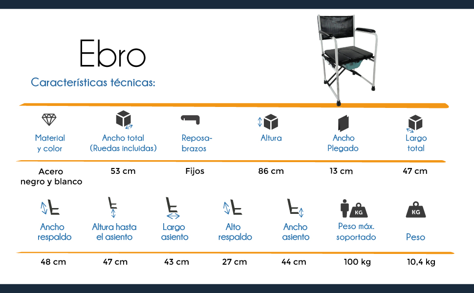 Mobiclinic Silla con WC | Inodoro | con Tapa | Plegable | Acero Cromado | con reposabrazos | Asiento Acolchado | Modelo Ebro