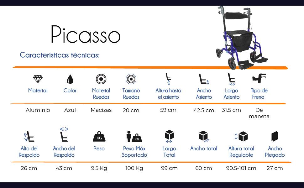 Andador y silla de ruedas, Aluminio, Plegable, Freno en manetas, Asiento y respaldo, 4 ruedas, Azul, Picasso, Mobiclinic
