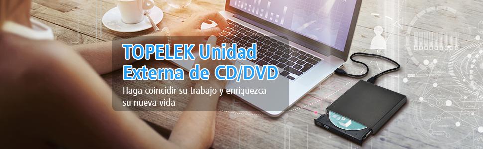 TOPELEK UD28B - Grabadora y Lector de CD/DVD para Windows y Mac OS, Negro