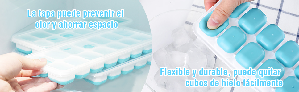 Paquete de 4] TOPELEK Bandeja de Hielo,PP+TPE Moldes para Cubitos ...