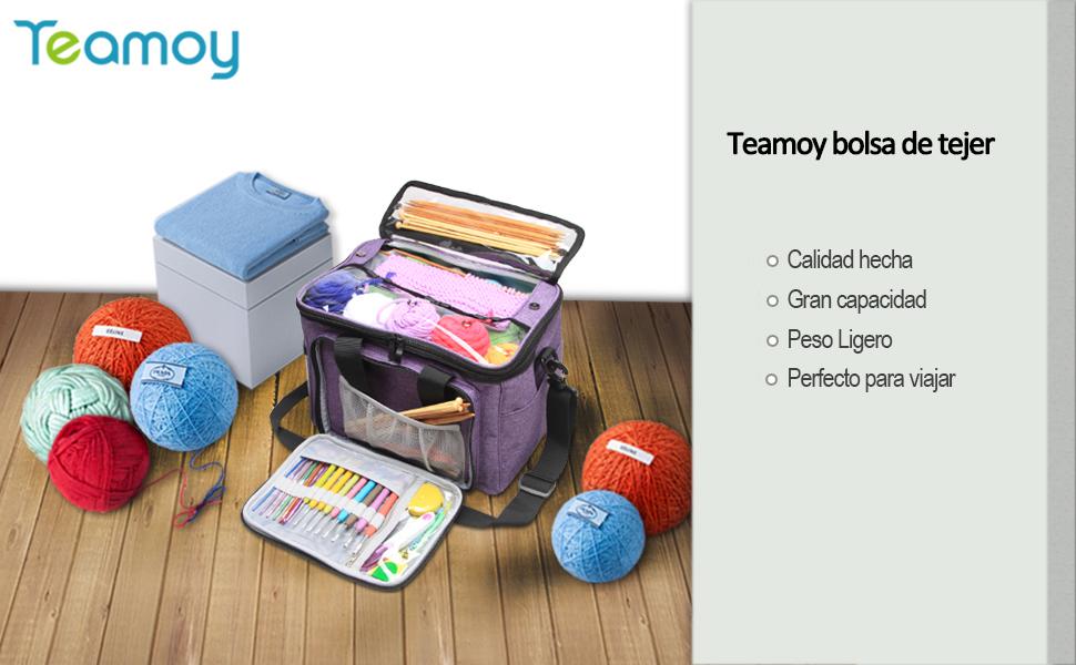 Teamoy Bolsa de Ovillos Bolso de Crochet Mochila Bolsa de Almacenamiento de Tejido en Orden(NO Incluido Accesorios), Pequeño,Púrpura: Amazon.es: Hogar