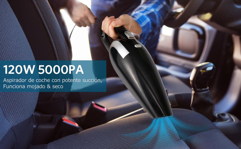 Tsumbay Aspirador de Coche 5000PA 120W, Portátil Aspiradora para ...