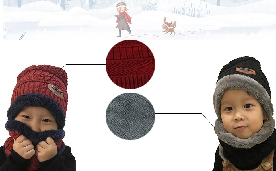 Niños Sombrero Caliente de Punto y Bufanda