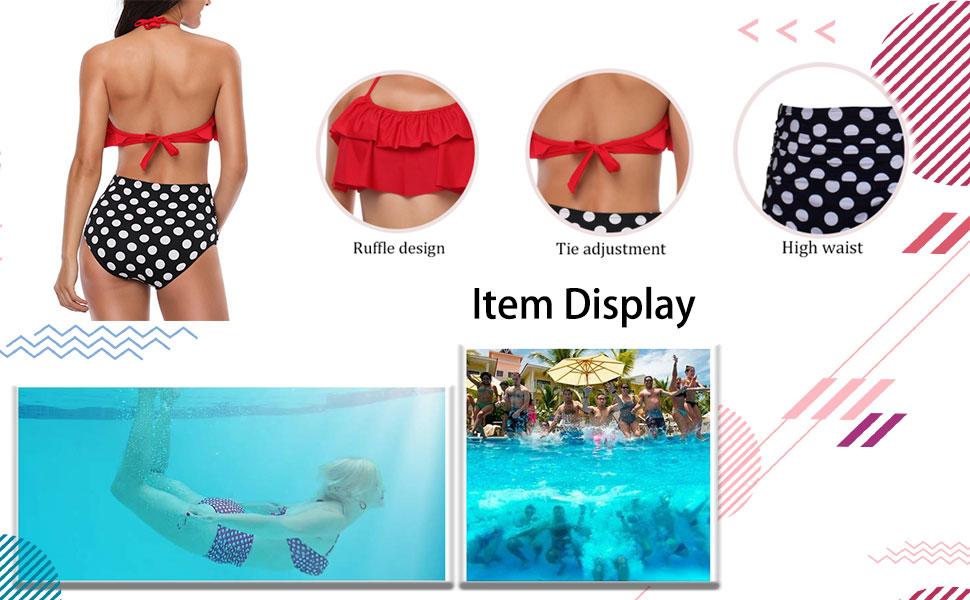 heekpek Conjunto de Bikini Mujer de Cintura Alta Traje de Baño de ...