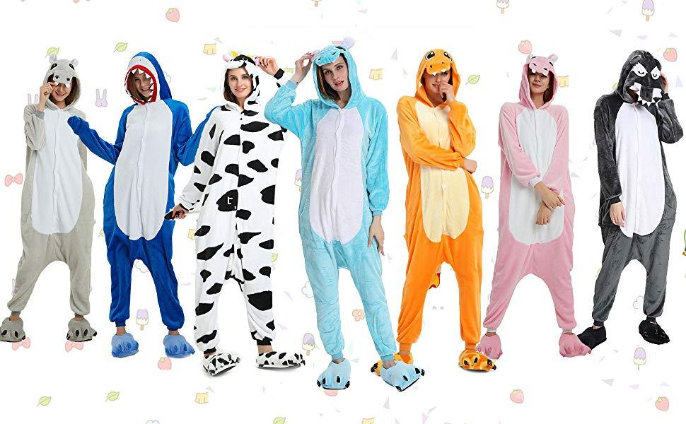 heekpek Pijamas Unisexo Adulto Cosplay Pijamas la Ropa de Noche del Nightclothes Carnaval Disfraz Pijamas, Hipopótamo, Tiburón, Lobo