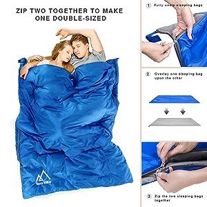 El diseño flexible de la cremallera de doble lado le ayuda a introducirse dentro del saco de dormir fácilmente. Además, el sistema de cremallera le permite ...
