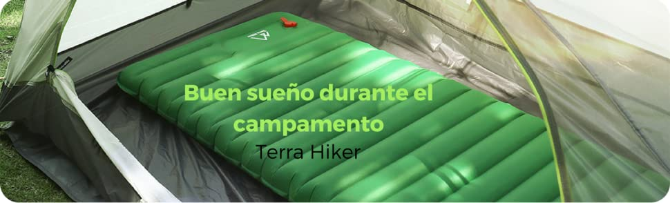 Terra Hiker Impermeable colchoneta Inflable de Campamento para Actividades al Aire Libre, Verde Oscuro