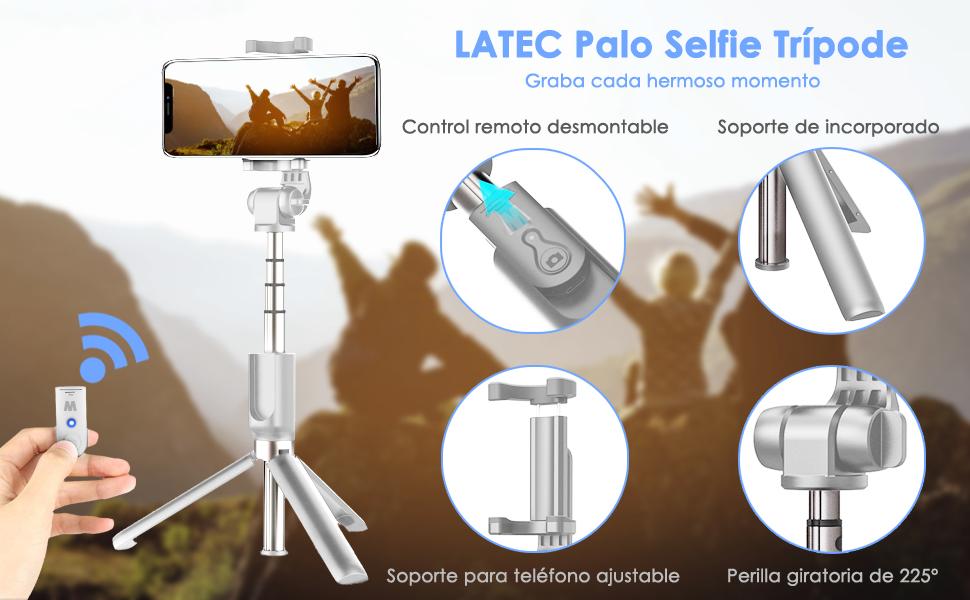 LATEC Palo Selfie Trípode Bluetooth 3 en 1 Mini Bolsillo Monopie Extensible inalámbrico Selfie Stick Rotación de 360 ° para iPhone Android Teléfonos ...