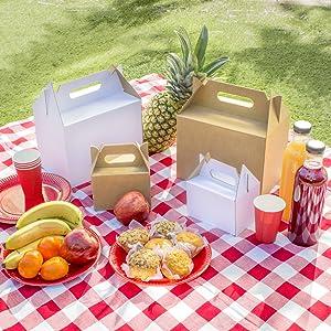 Kartox | Caja Picnic Mini de Cartón Kraft | Caja para Fiestas - Comidas - Restaurantes | 14x10x9.5 | 10 Unidades: Amazon.es: Oficina y papelería