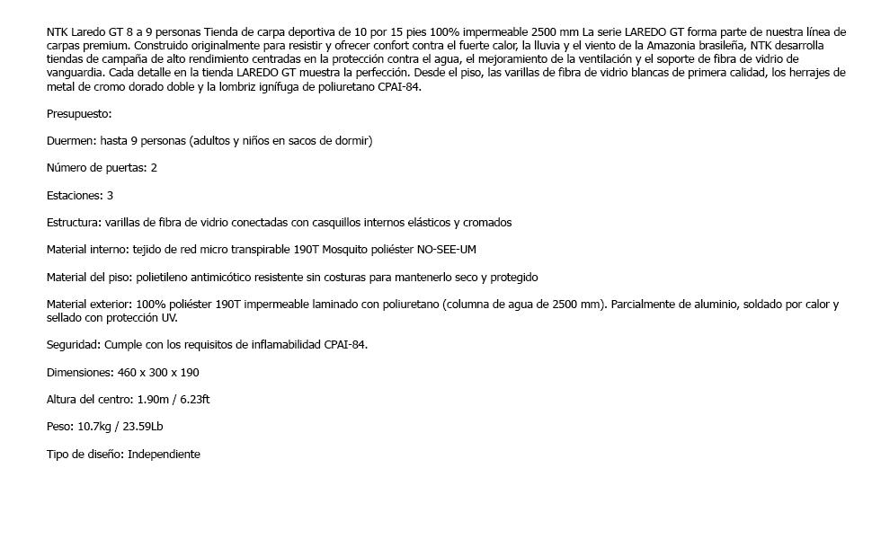 NTK Tienda de Campaña Resistente 100% Impermeable para 8 a 9 ...