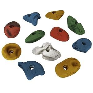 ALPIDEX 11 presas de Escalada de tamaños M y L - adecuadas para Todo Escalador, Joven o Mayor, Principiante o Profesional