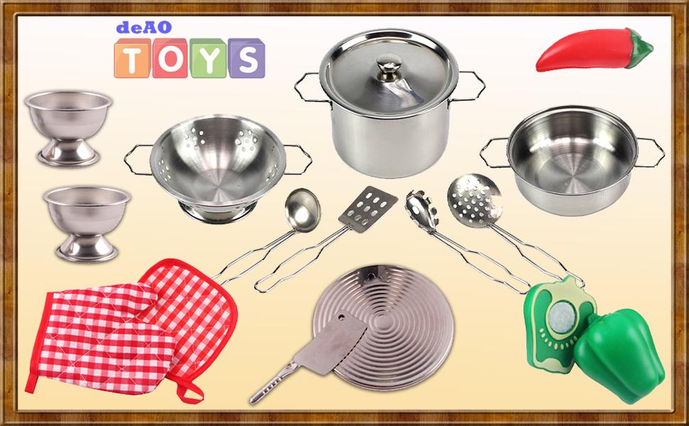 Juego de utensilios de cocina mini; réplicas exactas de utensilios de cocina cotidianos, ¡especialmente diseñados para manos pequeñas!