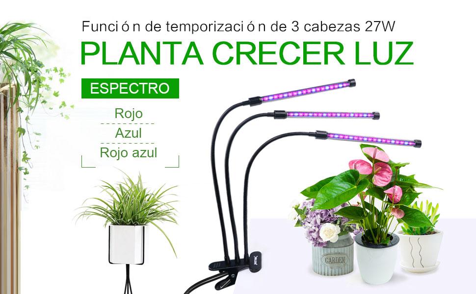 Nastima Lámpara de cultivo Nastima 27W con función de encendido automático, lámpara de cultivo de 54 LED con temporizador de 3/6/12H, control de ...