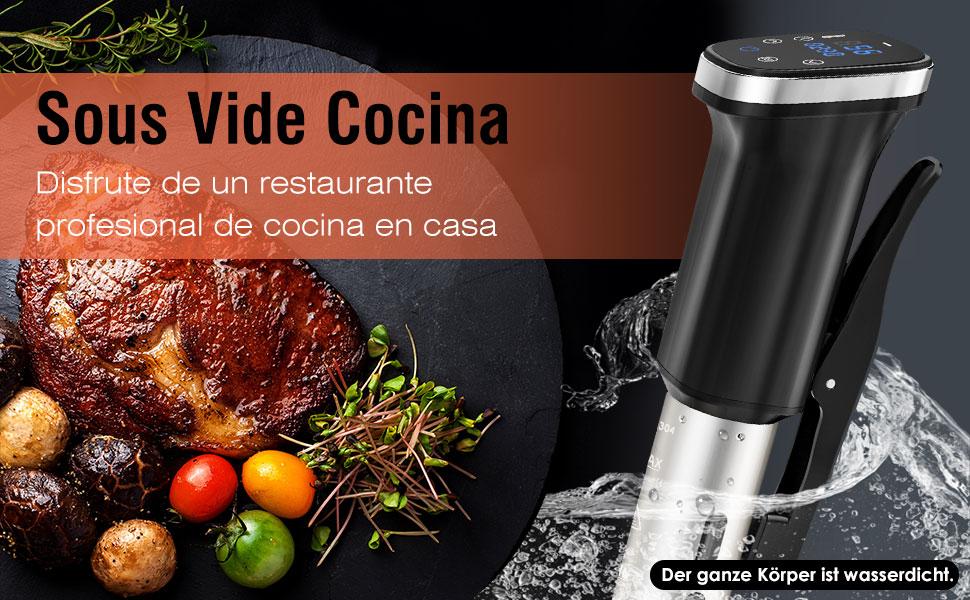 Nuovoware Aparato de Cocina Sous Vide, Cocina de Precisión de Circulación de Inmersión 1000W con LCD Pantalla, Control tactil, Temporizador para cocinar sano y uniforme - Negro: Amazon.es: Hogar