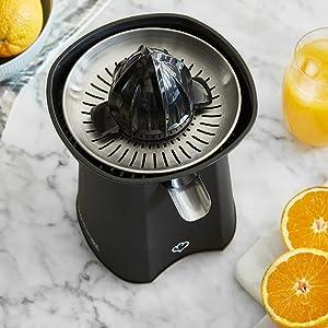 Springlane Kitchen Exprimidor de Cítricos Eléctrico de Acero Inoxidable Paula 100W, Exprimidor eléctrico, exprimidor de zumo con 2 conos - Negro