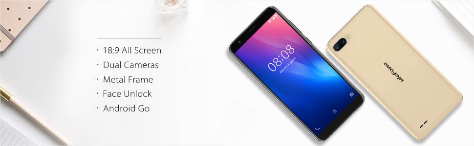 Ulefone S1 - Smartphone Libre 3G, Doble SIM, Android Go, Pantalla 5.5 18:9, QuadCore, 1GB+8GB, Desbloqueo Facial, Doble Cámaras Traseras de 8MP+5MP, 3000mAh, WiFi, Bluetooth, GPS (Negro): Amazon.es: Electrónica