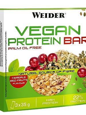 Weider Vegan Protein Bar. Sabor Frutos Rojos. Mezcla de proteína vegetal, cereales y semillas. Sin gluten. Sin lactosa. Sin aceite de palma (3x35 g)