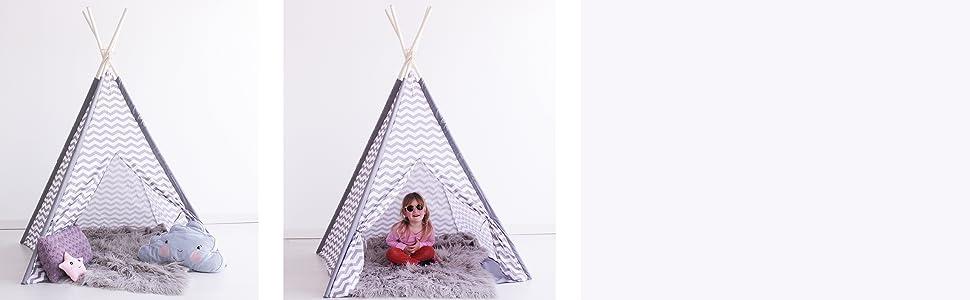 Kiddus Tienda Tipi Juego simbólico decoración habitación Infantil niños Blanco y Gris Estilo nórdico KI60120