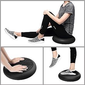 CPOKOH Cojin Equilibrio, Cojines de Equilibrio Usado para Entrenamiento del/Balance Rehabilitación/Ejercicios de Espalda/Gimnasio/Yoga/Cojín