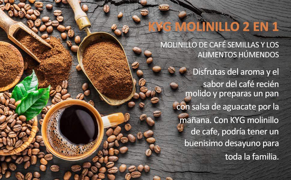 KYG Molinillo de café eléctrico para uso seco/ húmedo con 2 vasos extraible Molinillo para especias semillas pimientas albahacas ajos aguacate ...