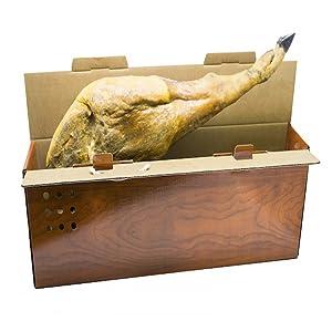 Pack de 10 Cajas de Cartón Jamoneras para Guardar Jamones o Paletillas. Tamaño 86 x 14,5 x 27 cm. Fabricadas en España. Normativa AFCO. Cajeando.: Amazon.es: Oficina y papelería