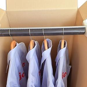 Pack de Dos (2) Cajas Armario de Cartón, Color Marrón y Canal Doble. Mudanzas. Guardarropa. Incluyen 2 Barras Perchero. Tamaño 50 x 50 x 101 cm. ...