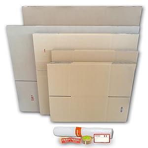 Cajeando | Pack Mudanza BÁSICO (10 Cajas + Precinto, Etiquetas y Burbujas) | Cajas de Cartón de Canal Simple, Doble y de Color Marrón | Fabricadas en España: Amazon.es: Oficina y papelería