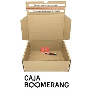 Pack de 10 Cajas de Cartón para Envíos (Caja Doble Envío) de 25 x 19 x 8,5 cm - Color Marrón. Permite Hacer Dos Envíos en Uno. Mudanzas. Fabricadas en ...