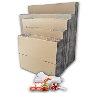 Pack GRAN MUDANZA (30 Cajas + Precinto, Etiquetas y Burbujas). Cajas de Cartón de Canal Simple, Doble y de Color Marrón. Fabricadas en España. Cumplen ...