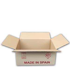 Pack de 20 Cajas de Cartón de Canal Simple y Color Marrón. Tamaño 44,5 x 29,5 x 21 cm. Mudanzas. Fabricadas en España. Normativa AFCO. Cajeando