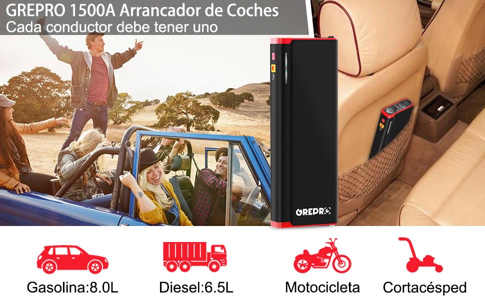 Arrancador de Coche - 1500A Pico 21000mAh Jump Starter, Batería Arrancador de Coche (Motor 8.0L Gas o Diesel Hasta 6.5L), Bateria Externa con Puertos ...