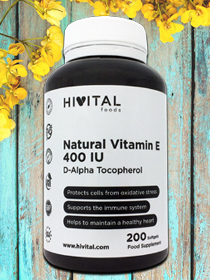 Vitamina E Natural 400 UI IU 400 mg Hivital foods. medicina natural hivital foods