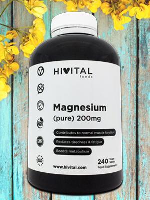 Magnesio puro 200 mg Citrato de Magnesio Hivital foods