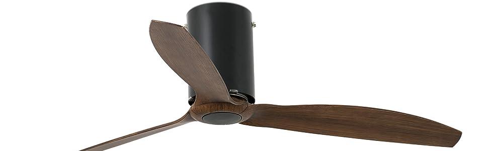 Faro Barcelona 32042 - MINI TUBE FAN Ventilador de techo mate con aspas de madera, marrón con motor DC: Amazon.es: Bricolaje y herramientas