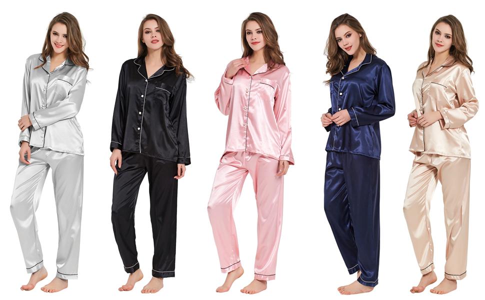 Pijamas Mujer Algodon Ropa de Domir Elegante Manga Pantalon Largos: Amazon.es: Ropa y accesorios