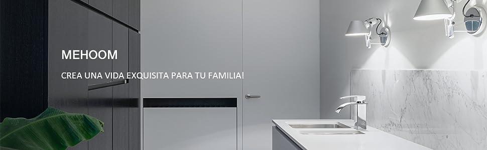 Grifo de Lavabo Baño, MEHOOM Grifo Cascada Monomando para Cuadrado Fregadero Cocina Mezclador, Válvula De Cerámica, Agua Fria y Caliente Disponible, Cromo-plateada Estilo de Moderno: Amazon.es: Bricolaje y herramientas