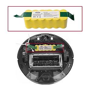 efluky 3.5Ah batería de repuesto para irobot roomba + Kit cepillos repuestos de Accesorios para iRobot Roomba Serie 700 720 750 760 770 772e 776 776p ...