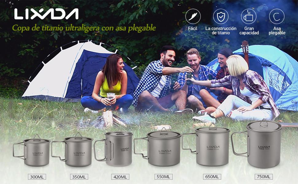 Lixada Taza Titanio Portable Ultralight 900ml con Mango Plegable y Tapa Utensilios de Cocina para Acampada Senderismo