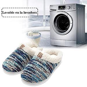 Zapatillas de casa Hombre, Forro algodón, Ultraligero cómodo y ...
