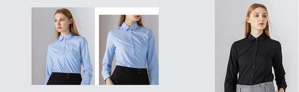 Harrms - Blusa básica para mujer, entallada, de manga larga, de algodón, de un solo color, lisa, para traje, trabajo, con bolsillo en el pecho, fácil de planchar, 11 colores amarillo 43: