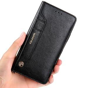 Funda cartera iPhone 11/X/XR/XS Max/6/6S/7/8 Plus/Samsung Galaxy S7 Edge/S7/S8/S9 Plus/Huawei Mate 20 P20 Pro Lite P30 con una solapa para llevar ...