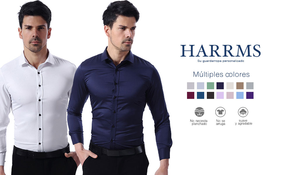 Harrms Camisa Bambú Fibra Hombre, Manga Larga, Slim Fit, Camisa Elástica Casual/Formal para Hombre, Negro, XXL (Cuello 44CM, Pecho 120CM)