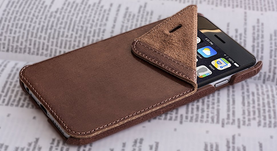 OPIS Mobile 6 Garde Book: Elegante Funda abatible de usos múltiples para iPhone 6/6s, realizada con diversas variedades de Cuero auténtico (Castaño)