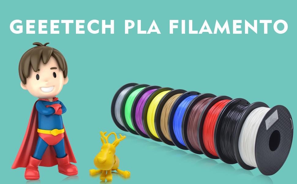 GEEETECH Filamento PLA 1.75mm para impresión 3D, 1kg Spool, Rojo ...