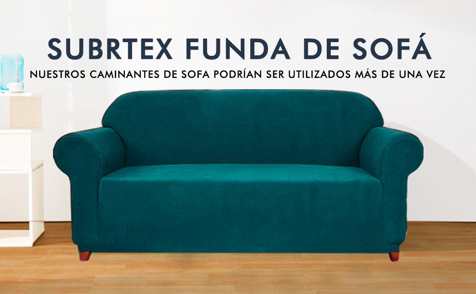 subrtex 1 Pieza Funda de Sofá Poliéster Elástica Cubierta de Asiento Forro de Sofá Doméstico (2Plazas, Azul Verde)