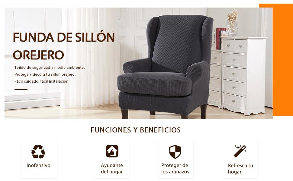 subrtex 2 Piezas Funda de Sillón Orejero Elástica Funda para ...