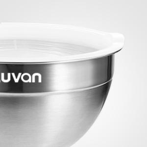 Luvan Cuencos mezcladores de boles de acero inoxidable 304,con bordes anchos para un agarre y vertido fáciles,extraprofundos para porciones ...