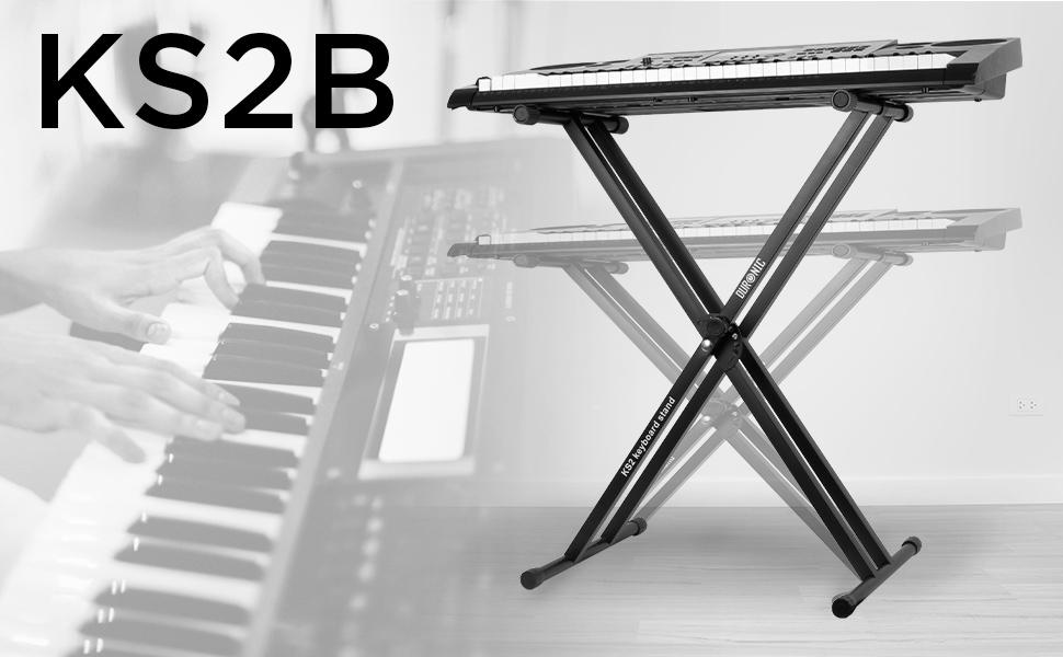 Duronic KS2B Soporte de Teclado Patas Perfil Doble/Soporte para Piano Eléctrico con Correas y Tornillos de Fijación/Altura Regulable/Carga Máx. 30 Kg
