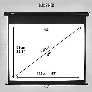 """Duronic MPS90 /43 Pantalla de Proyección Enrollable Manual, Pantalla para Proyector 90"""" 4:3 (183 x 137 cm), Full HD y 3D, Fijación de Pared y Techo"""